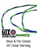 blue and fluorescent green custom bow string color with clear serving