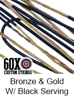 bronze and gold custom bow string color with black serving