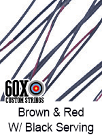 brown and red custom bow string color with black serving