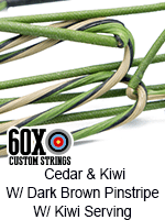 cedar and kiwi with dark brown pinstripe custom bow string color with kiwi serving