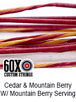 cedar and mountain berry custom bow string color with mountain berry serving