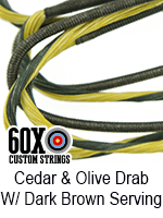 cedar and olive drab custom bow string color with dark brown serving