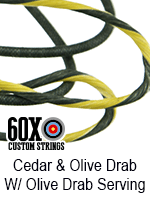 cedar and olive drab custom bow string color with olive drab serving