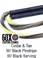 cedar and tan w black pinstripe custom bow string color with black serving