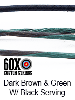 dark brown and gold custom bow string color with black serving