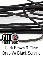 dark brown and olive drab custom bow string color with black serving