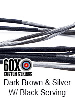dark brown and silver custom bow string color with red serving