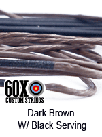 dark brown custom bow string color with black serving