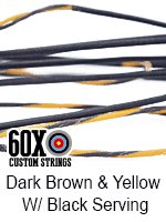 dark brown and yellow custom bow string color with black serving