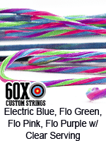 electric blue, fluorescent green, fluorescent pink, fluorescent purple custom bow string color w clear serving
