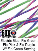 electric blue, fluorescent green, fluorescent pink, fluorescent purple custom bow string color w fluorescent green serving