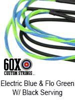 electric blue and fluorescent green custom bow string color w black serving