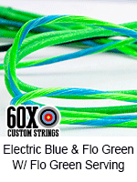 electric blue and fluorescent green custom bow string color w fluorescent green serving