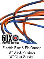 electric blue and fluorescent orange w black pinstripe custom bow string color w clear serving