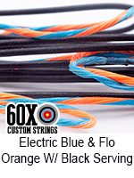 electric blue and fluorescent orange custom bow string color w black serving