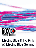 electric blue and fluorescent pink custom bow string color w electric blue serving