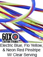 electric blue and fluorescent yellow with neon red pinstripe custom bow string color with clear serving