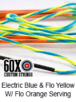 electric blue and fluorescent yellow custom bow string color with fluorescent orange serving