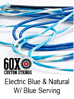 electric blue and natural custom bow string color with blue serving