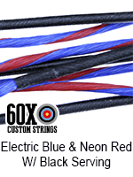 electric blue and neon red custom bow string color with black serving