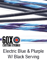 electric blue and purple custom bow string color with black serving