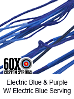 electric blue and purple custom bow string color with electric blue serving