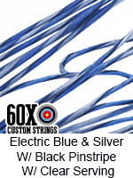 electric blue and silver with black pinstripe custom bow string color with clear serving