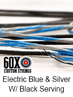 electric blue and silver custom bow string color with black serving