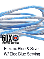 electric blue and silver custom bow string color with electric blue serving