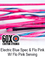 electric blue speckled and fluorescent pink custom bow string color with fluorescent pink serving