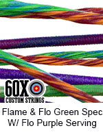 flame and fluorescent green speckled custom bow string color with fluorescent purple serving