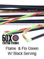 flame and fluorescent green custom bow string color with black serving