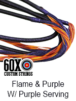 flame and purple custom bow string color with purple serving