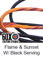 flame and sunset custom bow string color with black serving