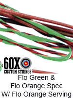 fluorescent green and fluorescent orange speckled custom bow string color with fluorescent orange serving