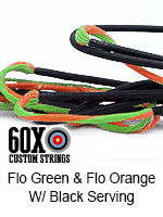 fluorescent green and fluorescent orange custom bow string color with black serving