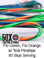 fluorescent green and fluorescent orange w teal pinstripe custom bow string color with blue serving