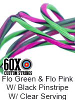 fluorescent green and fluorescent pink w black pinstripe custom bow string color with clear serving