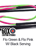 fluorescent green and fluorescent pink custom bow string color with black serving