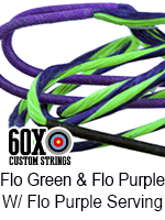 fluorescent green and fluorescent purple custom bow string color with fluorescent purple serving