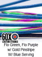 fluorescent green and fluorescent purple w gold pinstripe custom bow string color with blue serving