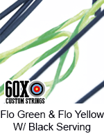 fluorescent green and fluorescent yellow custom bow string color with black serving