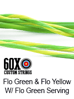 fluorescent green and fluorescent yellow custom bow string color with fluorescent green serving