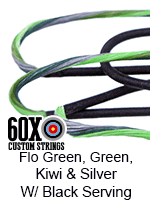 fluorescent green, green, kiwi, and silver custom bow string color with black serving