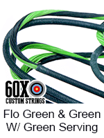 fluorescent green and green custom bow string color with green serving