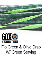 fluorescent green and olive drab custom bow string color with green serving