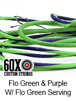 fluorescent green and purple custom bow string color with fluorescent green serving