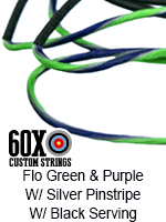 fluorescent green and purple custom bow string color with silver pinstripe and black serving