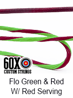 fluorescent green and red custom bow string color with red serving