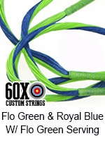 fluorescent green and royal blue custom bow string color with fluorescent green serving